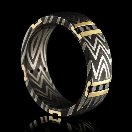 Damascus Ring With Zebra Pattern 14K Yellow Gold & Black Diamonds