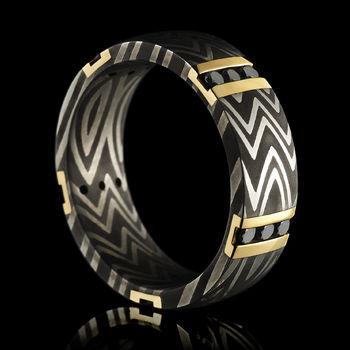 Award Winning Damascus Steel & Black Diamond Wedding Band
