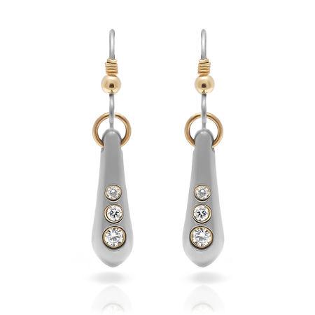 Ladies Titanium & Diamond Drop Earrings
