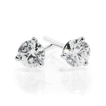 Diamond Stud Earrings .33ctw - 14kw Martini Style