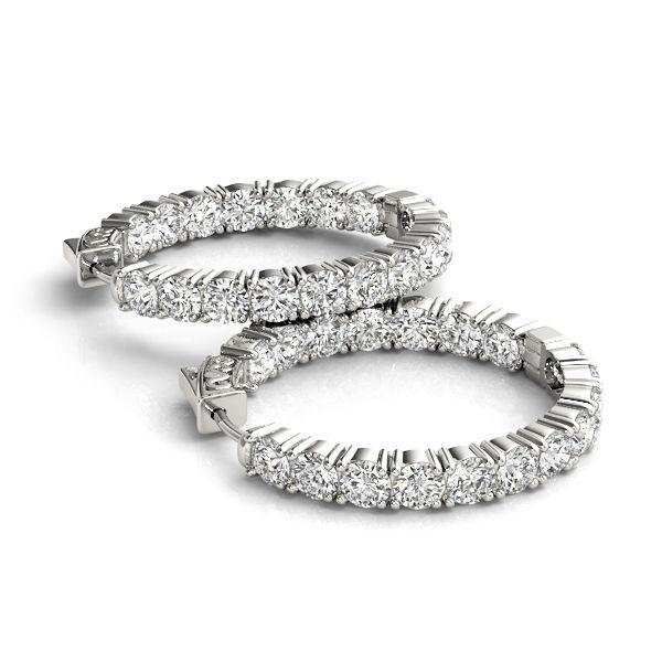 5.50 carat Diamond Hoop Earrings - Inside Outside Diamond Earrings over 5cts