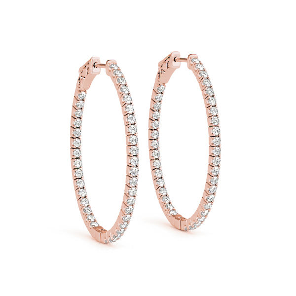 14K Rose Gold & Diamond Inside-Out Hoop Earrings - Expertly made in USA