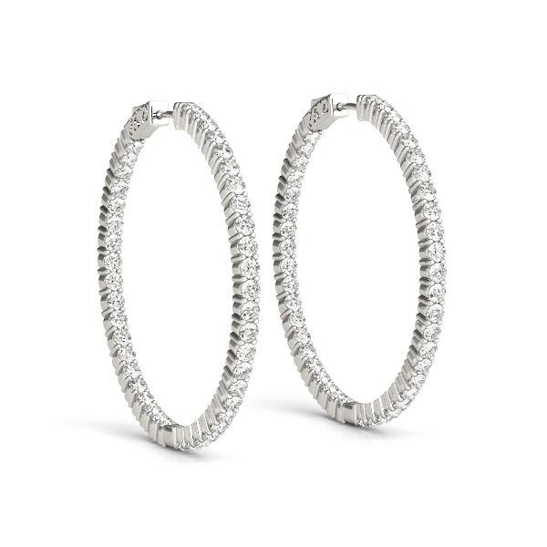 2 carat Diamond Inside Outside Hoop Earrings - White Gold Earrings with Diamonds Inside and Out