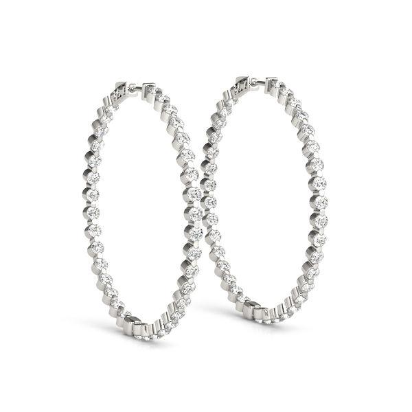 White Gold Inside-Out Diamond Hoop Earrings - 1.80ctw Diamond Hoops