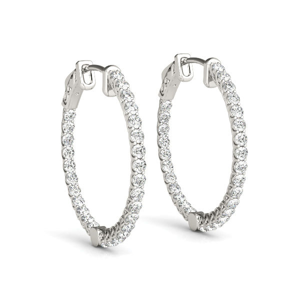 14K White Gold & Diamond Inside-Out Diamond Hoops - Lucida Style!