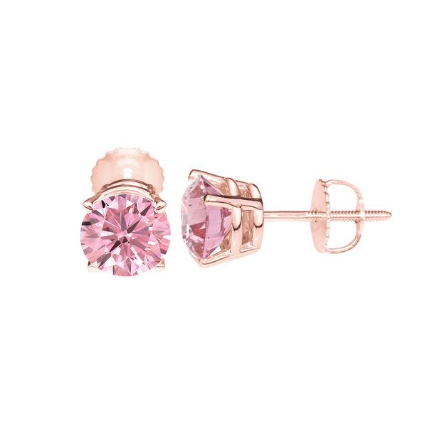 Lab Grown Pink Diamond Earrings - Fancy Pink Diamond Studs