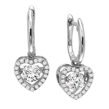 Rhythm of Love Heart Earrings - Halo Heart Diamond Earrings