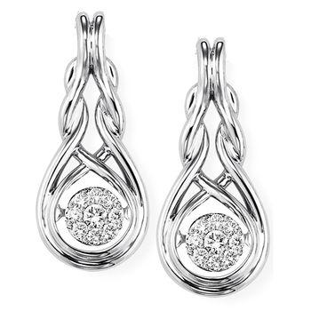 Rhythm of Love Diamond Earrings - Love Knot Sterling Silver & Diamond Earrings