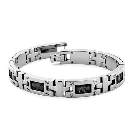 Edward Mirell Titanium & Black Leather Bracelet