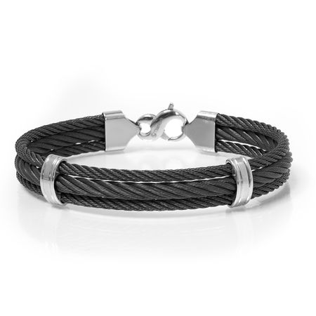 Triple Black Titanium Cable Bracelet by Edward Mirell