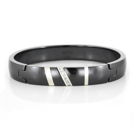 RAPTURE Black Ti & Diamond Bracelet with Sterling Silver by EDWARD MIRELL