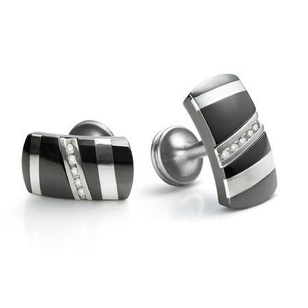 RAPTURE Black Titanium Cufflinks with Diamonds