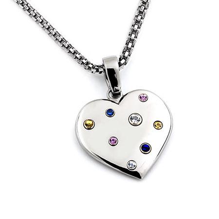Titanium & Rainbow Sapphire Heart Necklace