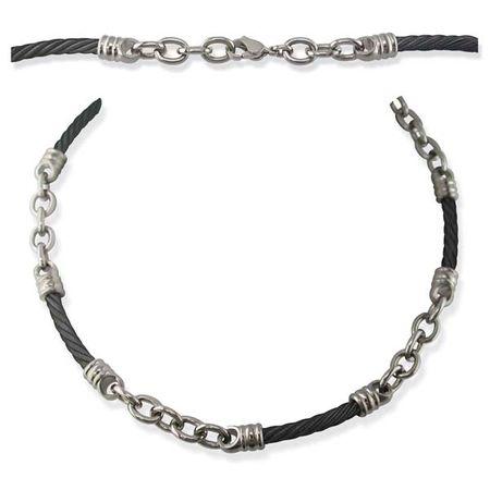 Black Titanium Cable Rosenberg Necklace - 4mm
