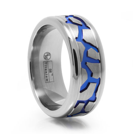 Fractured Design Titanium Ring With Blue Anodized Groove by Edward Mirell