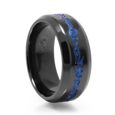 Tribal Design Black Titanium Ring With Blue Anodized by Edward Mirell