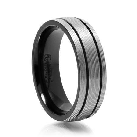 Gray Titanium Ring With Ridges