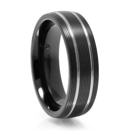 Black Titanium Ring With Ridges