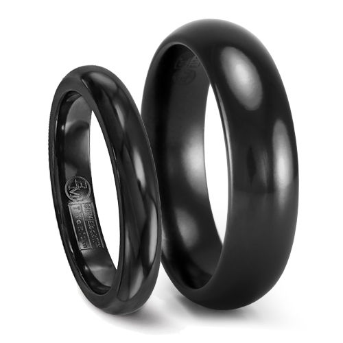 Classic Comfort Fit Black Titanium Wedding Band Set - 4mm & 6mm - Edward Mirell