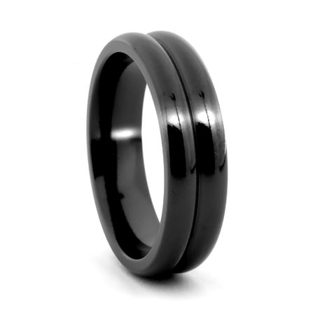EDWARD MIRELL Black Titanium Ribbed Wedding Band