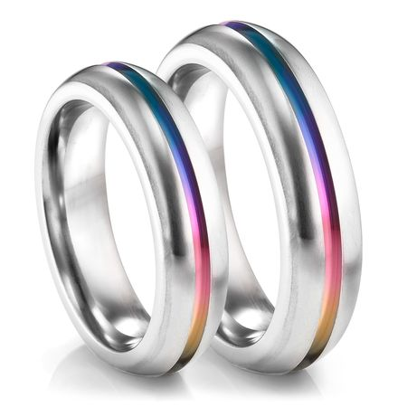 womens engagement product dazzle titanium colorful steel band wedding new rings ring rainbow promise light men