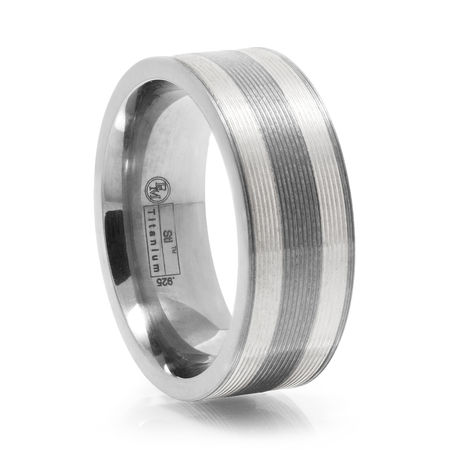 Titanium & Silver Textured Ring