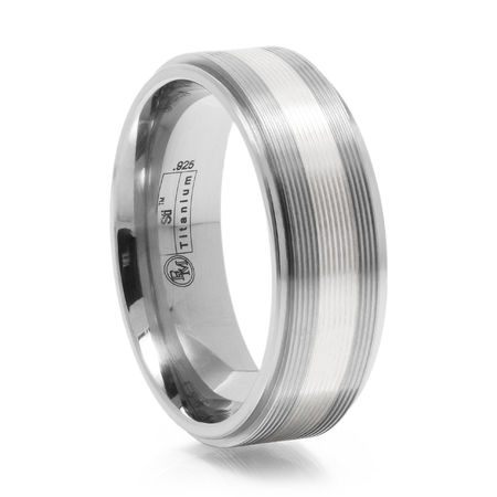 Titanium Ring With Silver Inlay & Grooves