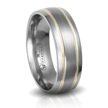 Titanium & 14K Gold Beaded Inlay Wedding Band by Edward Mirell