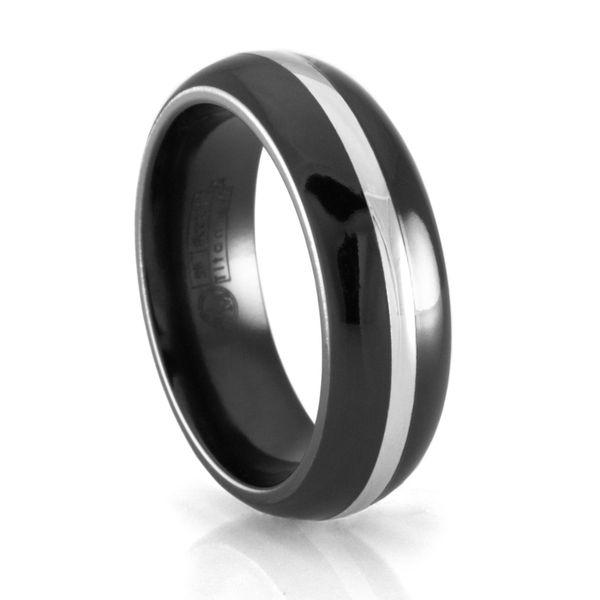 EDWARD MIRELL Black Titanium Ring with 14K White Gold