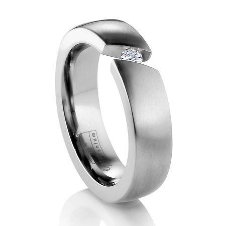 Diagonal Titanium Ring with Tension Set Diamond by Edward Mirell