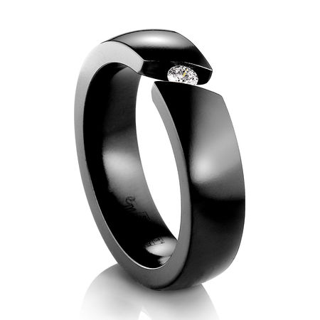 EDWARD MIRELL Black Titanium Ring Diagonal Tension Set Diamond Ring