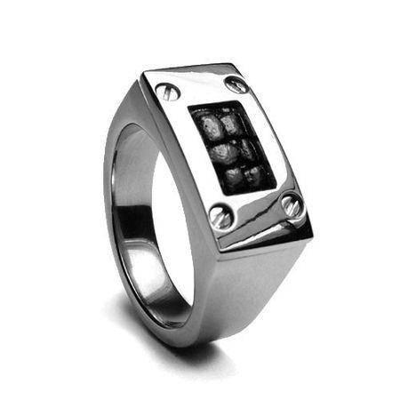 Edward Mirell Leather & Titanium Ring - Black