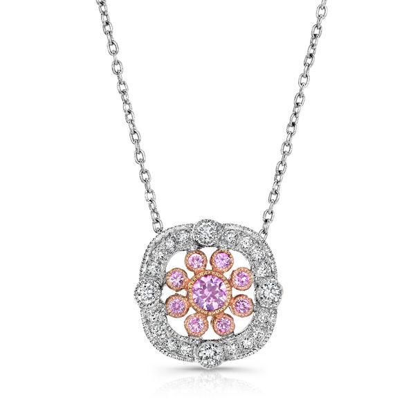 Beverley K Pink Sapphire & Diamond Vintage Necklace - 18K White Gold & Sapphire Vintage Pendant