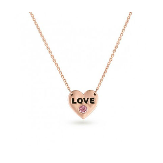 Pink Diamond Heart Necklace in Rose Gold - Lab Created Pink Diamond Necklace
