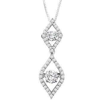 Rhythm of Love Diamond Necklace - Double Flame Dancing Diamonds