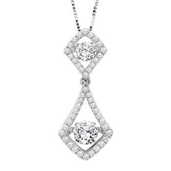 14K White Gold Rhythm of Love Diamond Necklace - Rhythm of Love Diamond Pendant