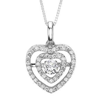 Rhythm of Love Diamond Heart Necklace - Double Heart Diamond Necklace