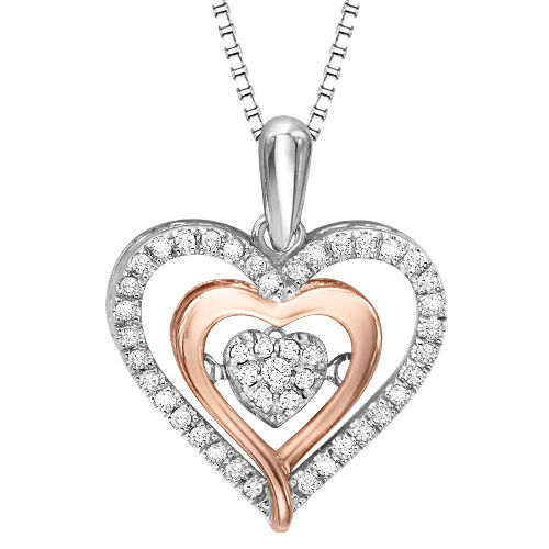 Rose Gold & Diamond Heart Rhythm of Love Necklace - Diamonds in Rhythm Heart