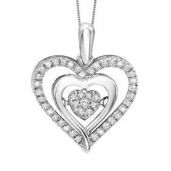 Rhythm of Love Heart Pendant - Diamond Cluster Heart Pendant