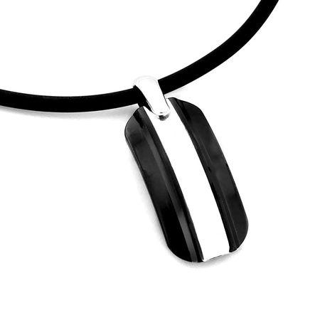 EM Racer Black Titanium & Silver Necklace