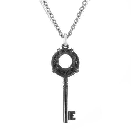 LACE Black Titanium Circle Key Necklace