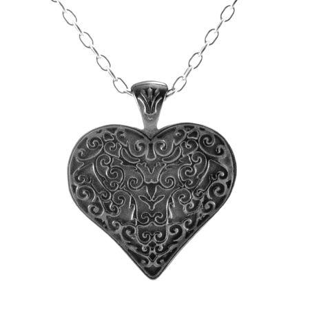 LATTICE Black Titanium Heart Necklace by Edward Mirell