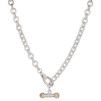 VAHAN Ladies Sterling & 14K Gold Necklace - Toggle Necklace