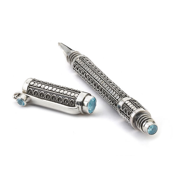 Handmade Sterling Silver Balinese Pen with Blue Topaz, Royal Baroque by Samuel B