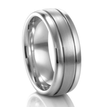 COGE 8mm Ribbed Palladium Wedding Band