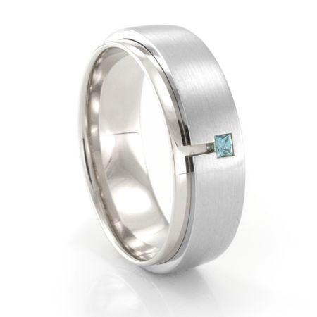 Palladium & Blue Diamond Ring by COGE