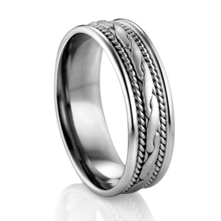 Braided Inlay Palladium Wedding Band by DIANA Classic