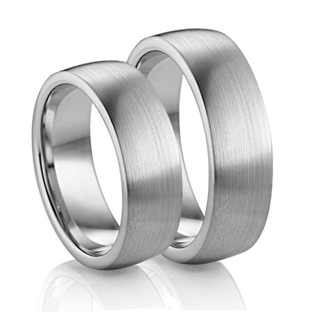 7mm Flat Palladium Wedding Band by Diana - Set