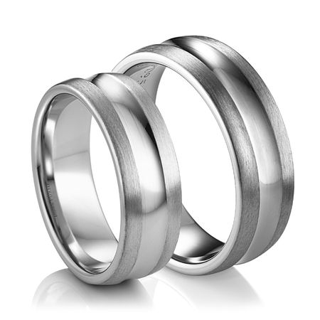 Concaved Groove Palladium Wedding Band by Diana - Set