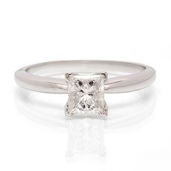 Princess Cut Diamond Solitaire Ring - .89ct Princess Cut - Killer Deal